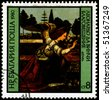 BULGARIA - CIRCA 1980: A Stamp shows the painting of Leonardo da Vinci - Annunciation, circa 1980 - stock photo