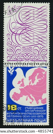 BULGARIA - CIRCA 1975: stamp printed by Bulgaria, shows Peace Dove and Map of Europe, circa 1975. - stock photo