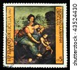"BULGARIA - CIRCA 1980: Stamp printed in Bulgaria shows Leonardo da Vinci ""Saint Anne"", circa 1980 - stock photo"