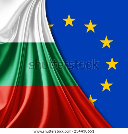 Bulgaria flag and Europe flag background - stock photo