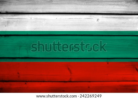 Bulgaria Flag on wood background - stock photo