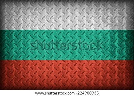 Bulgaria flag pattern on the diamond metal plate texture ,vintage style - stock photo