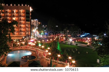 Bulgaria, Golden Sands resort. The night view from a window of hotel Metropol 3* to a hotel Lilia 4* (left) and Black Sea (right).