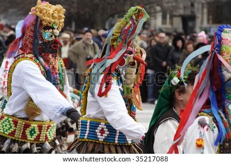 Bulgaria mummers parade 2009 - stock photo