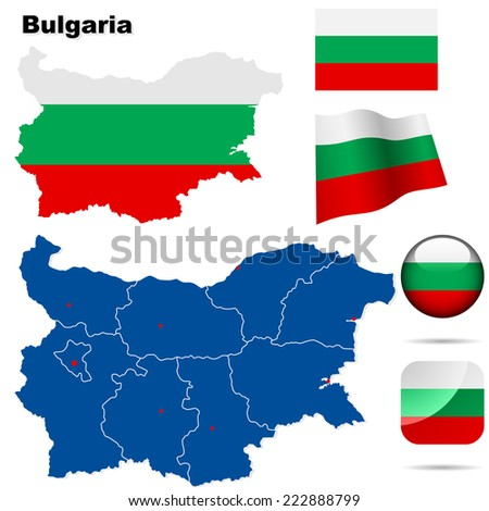 Bulgaria  set. Detailed country shape with region borders, flags and icons isolated on white background. - stock photo