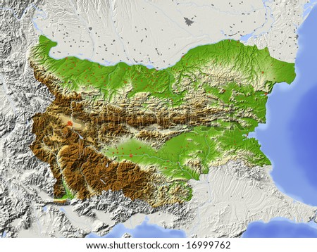Bulgaria. Shaded relief map with major urban areas. Surrounding territory greyed out. Colored according to elevation. Includes clip path for the state area. Data source: NASA - stock photo