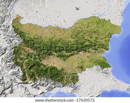Bulgaria. Shaded relief map with major urban areas. Surrounding territory greyed out. Colored according to vegetation. Includes clip path for the state area. Data source: NASA - stock photo