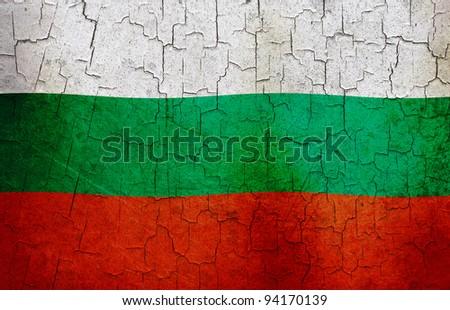 Bulgarian flag on a cracked grunge background - stock photo