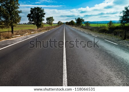 Bulgarian highway with a beautiful sky - stock photo