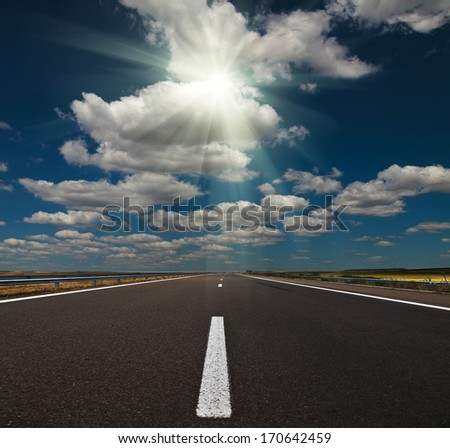 Bulgarian highway with sun and sky
