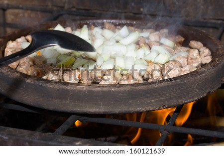 Bulgarian national dish  of meat with vegetables - stock photo