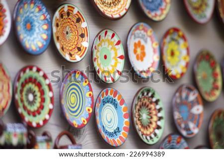 Bulgarian national handmade ceramic souvenirs - stock photo