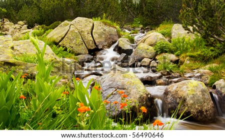 bulgarian nature background; mountain river - stock photo