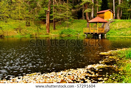 bulgarian nature landscape with forest lake - stock photo