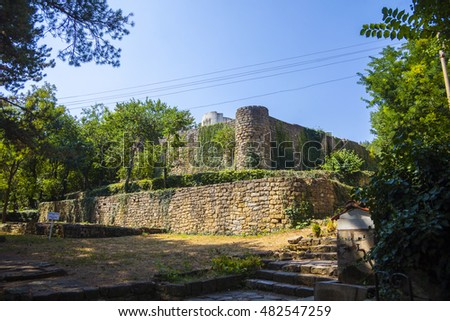 Bulgarian second ancient capital Preslav - ninth century. Historical  excavation of old city with king castle, churches and homes.