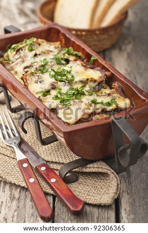 Bulgarian style dinner with bread - stock photo