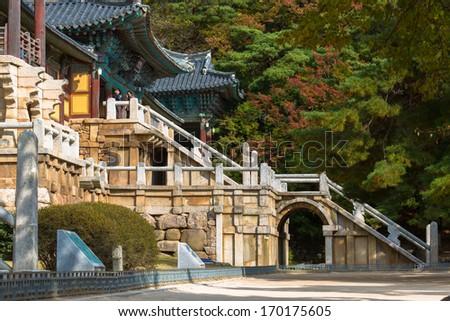 Bulguksa is located on the slopes of mount Toham (Jinheon-dong, Gyeongju city, North Gyeongsang province, South Korea) - stock photo