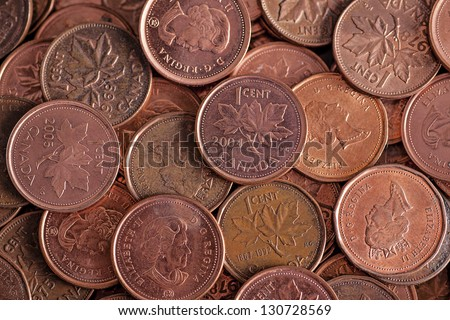 bulk Canadian cents, the Canadian penny has lost its value and has been eliminated in 2013 - stock photo