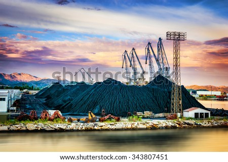 Bulk cargo with port infrastructure in largest sea port in southern Croatia - stock photo