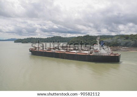 bulk carrier in panama canal - stock photo