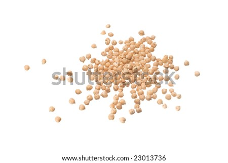 bulk of chickpeas isolated on withe backgrouound - stock photo