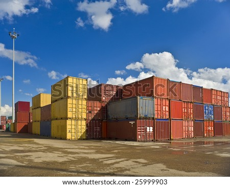 bulk of containers in a dockyard - stock photo