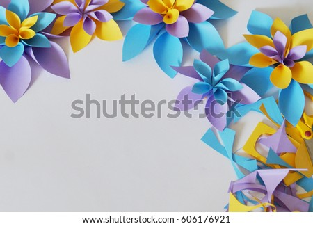 Bulk paper flowers occasion white background stock photo royalty bulk paper flowers the occasion white background purple blue and yellow mightylinksfo