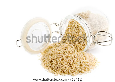 Bulk whole grain instant cooking rice - stock photo