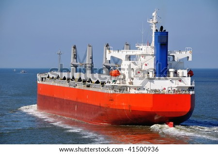 bulker at sea - stock photo