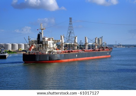 bulker-vessel entering the port - stock photo