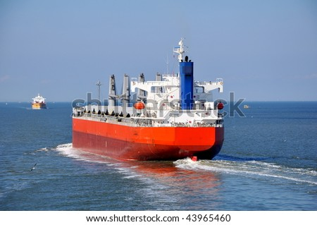 bulker-vessel on his way to the port - stock photo