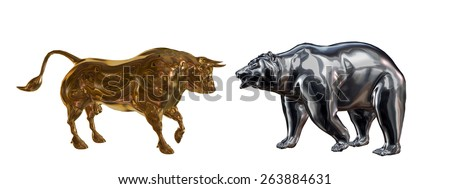 Bull and Bear Classic symbols of Wall Street, a metallic golden bull and cold steel bear. - stock photo
