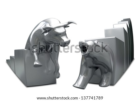 Bull and bear economic trends statuettes approaching each other on an isolated background - stock photo