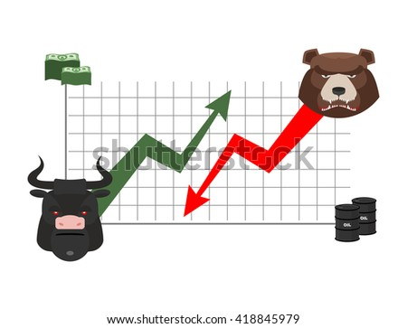 bull and bear finance. Rise and fall of quotations. Players on Exchange. Business chart, dollar and oil barrel. bulls  green up arrow. Bear red down arrow - stock photo