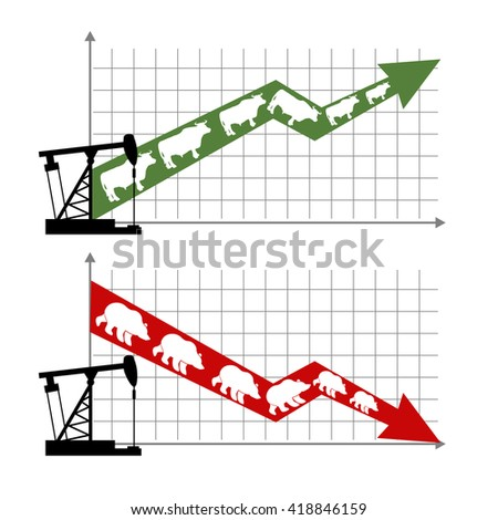bull and bear market. Rise and fall oil quotations. Oil production. Oil rig. Green up arrow Traders bulls. Red down arrow traders bears. Players on Exchange. Infographics for Exchange. Business graph - stock photo