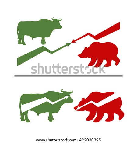 Bull and bear. Rise and fall of securities. Green Bull. Red bear. Confrontation between traders on stock exchange. Business illustration - stock photo