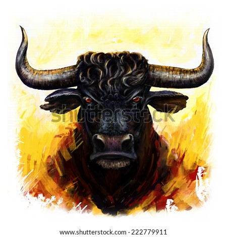 bull head digital painting/furious bull - stock photo