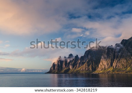 Bull Horns range in Senja, Norway - stock photo