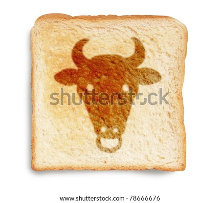bull picture drawing on toasted bread isolated on white background