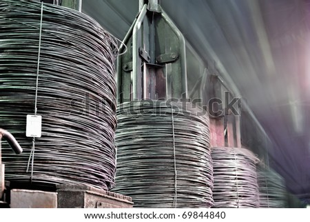 bull rod, coil rod, rolled wire production - stock photo