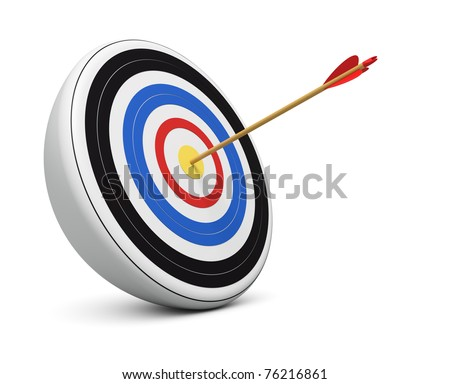 Bull's-Eye archery arrow hit right on target  center over white background - stock photo