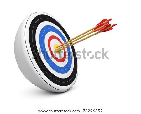 Bull's-Eye three archery arrows hit right on target  center over white background - stock photo