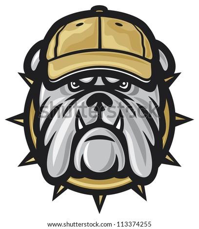 Bulldog head and baseball cap (angry bulldog, bulldog illustration) - stock photo