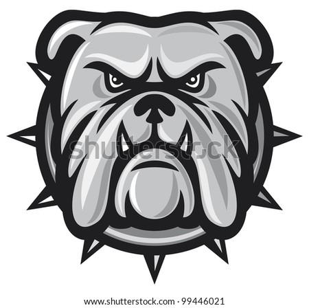 Bulldog head (angry bulldog) - stock photo