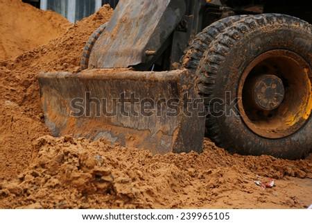 Bulldozer at work - stock photo