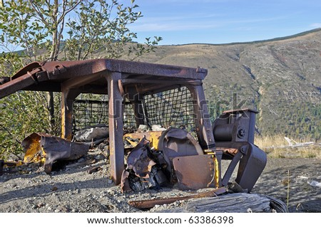 Bulldozer destroyed in the 1980 eruption of Mt. St. Helens - stock photo
