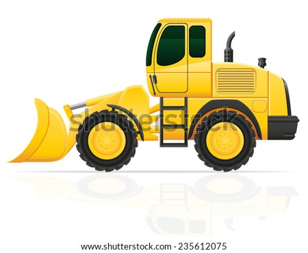 bulldozer for road works illustration isolated on white background
