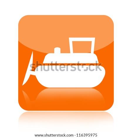 Bulldozer icon - stock photo