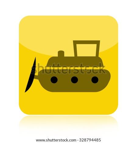 Bulldozer icon isolated on white background - stock photo