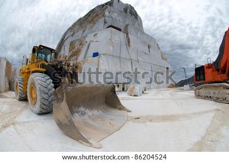 bulldozer in quarry - stock photo